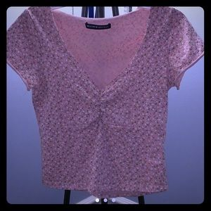 Brandy Melville Pink Floral Gina Top💕